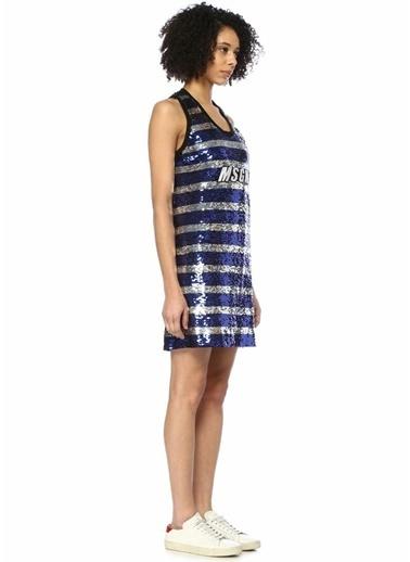 Msgm Çizgili İşlemeli Kolsuz Mini Elbise Mavi